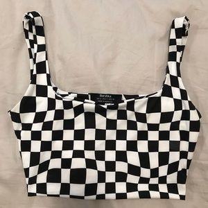 Bershka Checkered Crop Top